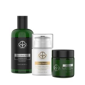THE COMPLETE MAN Skincare Combo – Energizer Body Wash, Face Serum & Moisturizer